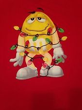 Yellow M&M Wrapped in Christmas Lights Red T Shirt Tee Chocolate Candy…