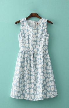 Flowers Printing Pleating Hem Sleeveless Vest Dress