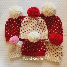 "This cute crochet heart hat design comes just in time for Valentine's Day! I love how the designer gave this hat a ""knit look"". This super adorable hat includes various sizes so that you can make one"