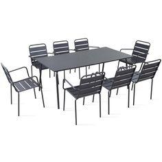 Table De Jardin Et 8 Fauteuils En Métal