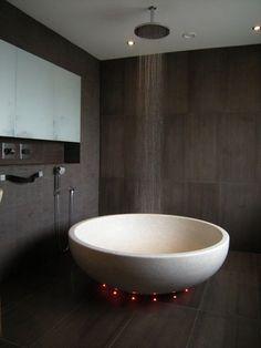 bath tub with red light underneath