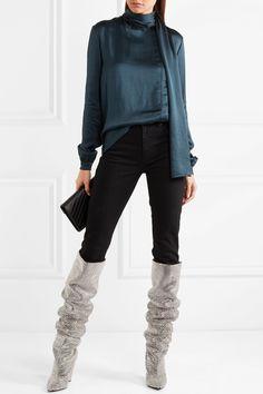 Saint Laurent | Draped washed-satin turtleneck blouse | NET-A-PORTER.COM