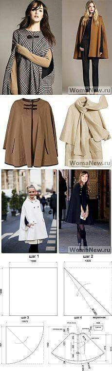 Cape Pattern + MK + ideas for ponchos Diy Clothing, Sewing Clothes, Clothing Patterns, Dress Patterns, Sewing Patterns, Do It Yourself Mode, Diy Fashion, Womens Fashion, Fashion Design