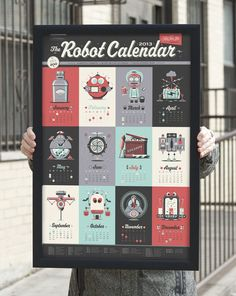 Introducing the 2013 Robot Calendar! A limited edition poster-style calendar featuring 12 original monthly-themed robot characters. Web Design, Layout Design, Design Art, Print Design, Design Ideas, Creative Design, Creative Calendar, Calendar Design, Graphic Design Inspiration