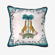 For exotic interiors, look to Emma J Shipley. Featuring two spotted giraffes taking shelter under a tropical palm, this cushion is fantastical, full of colour and comes complete with the softest velve Cushion Pads, Shipley, Cushions, Cool Fabric, Throw Pillows, Pink Houses, Prints, Beautiful Bedding, Luxury Cushions