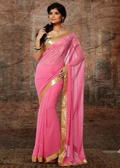 Buy Pink Party Wear Saree Online – Fashionic: Indian Ethnic Wear