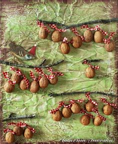 Advent calendar with walnut shells - with little slips of paper describing the reward or activity inside each walnut Natural Christmas, Christmas Countdown, Simple Christmas, Christmas Crafts, Christmas Ornaments, Walnut Shell Crafts, Cool Advent Calendars, Advent Activities, Acorn Crafts