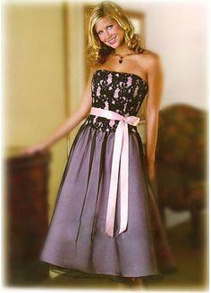 Stunning Lace Bodice Strapless Bridesmaid Dress B00201