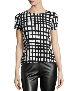 Plaid-Print+Peplum+Top,+Black/Ivory+by+Casual+Couture+at+Neiman+Marcus+Last+Call.