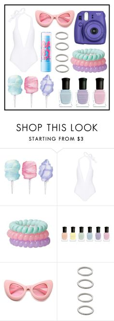 """Swimsuit #8"" by grequin ❤ liked on Polyvore featuring Cotton Candy, Eres, Deborah Lippmann, ZeroUV and Forever 21"