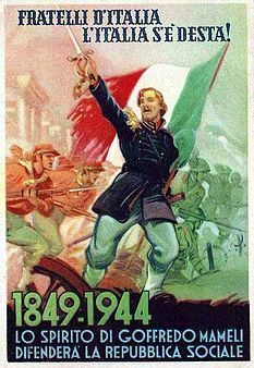 """Spirit of The Italian Hero Garibaldi from the """"Risorgimento"""" leads the RSI Army in battle Ww2 Propaganda Posters, Political Posters, Retro Advertising, Vintage Advertisements, Italian Empire, Kingdom Of Italy, Poster Pictures, Vintage Posters, Caricature"""