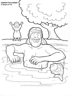 naaman healed of leprosy - coloring page | teacher things ... - Bible Story Coloring Pages Naaman