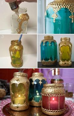 Ordinary jars...Turned into Colorful Ornate Candle holders ~ * * Be sure to Paint the INSIDE FIRST !!