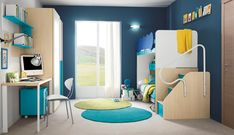 Modern White and Blue Kid's Bedroom with Bunk Bed by Colombini Casa