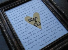 wedding gifts for parents, mother of bride, father of bride, mother of groom, father of groom, mom and dad custom print, your words, lyrics via Etsy