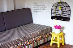 Sofá-cama e luminária. DIY BBB