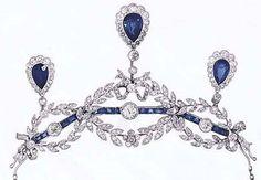 Antique Necklace Tiara, probably France (ca. 1905; sapphires, diamonds).