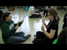 "partner game ""sarasponda"" with rhythm sticks. these guys don't change tempo but…"