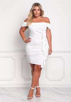 Plus Size Off Shoulder Ruched Ruffle Bodycon Dress Trendy Plus Size Clothing, Plus Size Outfits, Plus Size Fashion, Sexy White Dress, Beautiful White Dresses, Plus Size Looks, Curvy Plus Size, Curvy Girl Outfits, Curvy Girl Fashion