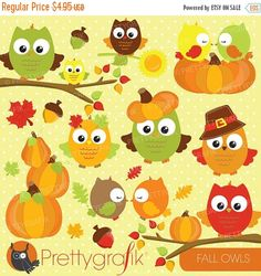 80% OFF SALE Fall owls clipart commercial use, fall season vector graphics, digital clip art, digital images - CL693