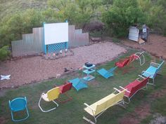 Mick's backyard drive-in theater - Retro Renovation, stain the would in dark stain Backyard Movie Theaters, Backyard Movie Nights, At Home Movie Theater, Drive In Theater, Outside Movie, Outdoor Projects, Outdoor Decor, Outdoor Games, Beach Lounge Chair
