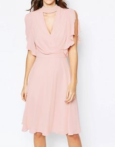 Image 3 of Elise Ryan Cross Front Midi Dress with Fluted Sleeve