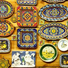 Our wall of Italian maiolica / pottery platters and plaques at Bonechi Imports! Find them on our retail site: www.bonechiimports.com