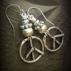 Gypsy, Silver, Hippy, Peace, Just Silver, Globes, Beaded Earrings by YuccaBloom on Etsy