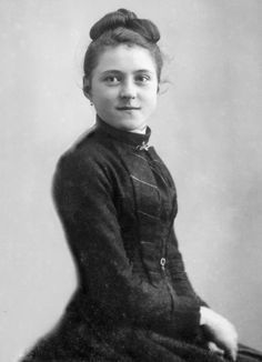 St. Therese at age 15. She put her hair up in an effort to look older when she traveled to the Vatican with her father, hoping to get permission to join the Carmelite order earlier than the required age.