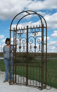 Wrought Iron Country French Arbor - Beautiful, Large Arbor with Double Swing Gates