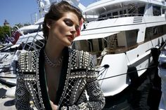 Catherine McNeil in Balmain jacket Fashion Photo, Love Fashion, Fashion Design, Military Inspired Fashion, Balmain Jacket, Catherine Mcneil, Fashion Gone Rouge, Australian Models, French Fashion