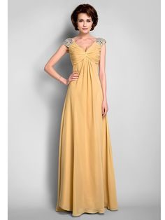 Lanting Bride® A-line Plus Size / Petite Mother of the Bride Dress Floor-length Sleeveless Chiffon with Beading / Draping / Criss Cross - USD $89.99