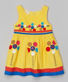 Look at this the Silly Sissy Yellow Floral Appliqué Babydoll Dress - Infant, Toddler