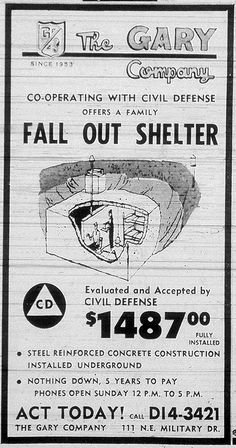 "1964 Fallout Shelter Advertisement - The advertisement includes the both the CD logo and the guarantee of ""Evaluated and Accepted by CIVIL DEFENSE"" Vintage Advertisements, Vintage Ads, Nuclear War, Nuclear Bomb, Bomb Shelter, Atomic Age, Old Ads, Fallout, American History"