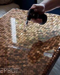 How To Make A Penny Tiled Desk...http://homestead-and-survival.com/how-to-make-a-penny-tiled-desk/