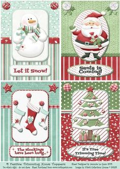 4 Festive Trimmings Toppers for Christmas on Craftsuprint designed by Jennie Le Guen - What a bargain! 4 fabulous toppers for the price of one sheet. Bright and cheery toppers that are easy to cut and use as is, or spruce them up by printing a second copy to cut for layering. Couldn't be simpler! - Now available for download!