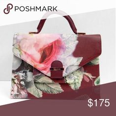"""Ted Baker Abielee  Floral Print Crosshatch New never used Satchel Tote Bag  Oxblood.  Features: - Faux leather - Lined interior - Magnetic snap closure  - Interior pockets - Removable shoulder strap - Rosegold tone hardware - Dimensions: 12""""L x 4""""W x 9""""H; 2.5"""" handle drop. 21"""" strap drop Ted Baker Bags Crossbody Bags"""