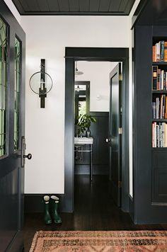 Jessica Helgerson Interior Design - entrances/foyers - hardwood floors, dark hardwood floors, black trim, black baseboards, black built-ins,...
