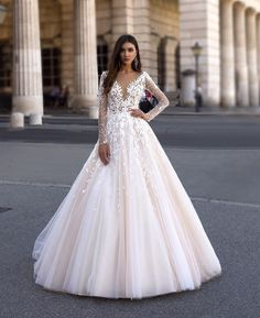 Gorgeous flower lace gown by by Dresses & Bridal Gowns Beach Bridal Dresses, Best Wedding Dresses, Bridal Gowns, Wedding Gowns, Modest Wedding, Summer Wedding, Lace Wedding, Wedding Dress Sleeves, Long Sleeve Wedding
