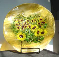 Handmade fused glass plate