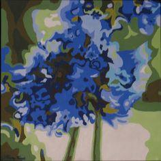 """""""Agapanthas"""" 30 cm x 30 cm - Acrylique sur toile SOLD"""