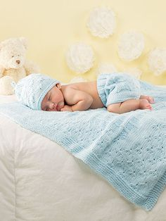 "Any little one will look simply darling in this set and surrounded by this beautiful blanket. Knit with a total of 5 skeins of Berroco® Comfort® using U.S. size 9/5.5mm 16"" and 32"" circular and set of double-point needles.  Finished measure..."