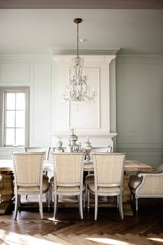 Chairs and table and chandelier