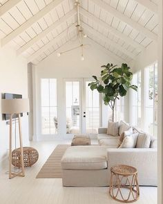 Best Summer Living Room Trends of Best Summer Living Room Trends of 2019 - Decoholic. If you have been looking to have a living room makeover but never got round to doing it, you're just in time to sample the best ideas for revamping the. Living Room Trends, Home Living Room, Living Room Designs, Living Spaces, Living Room White Walls, Apartment Living, Living Room Pouf, Beach Living Room, Coastal Living Rooms