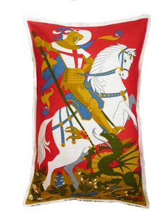 vintage st george and the dragon cushion by clare carter designs | notonthehighstreet.com