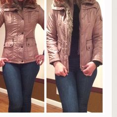 Puffy jacket Tan zip front puffy jacket with front pockets. Faux fur trim. Warm and cozy, no flaws. All polyester. Jackets & Coats Puffers