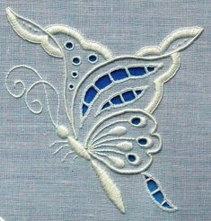 A delightful whitework butterfly design worked in the traditional techniques of Broderie Anglaise Types Of Embroidery, Embroidery Needles, Hand Embroidery Designs, Vintage Embroidery, Ribbon Embroidery, Embroidery Patterns, Hardanger Embroidery, Embroidery Techniques, Quilting Designs