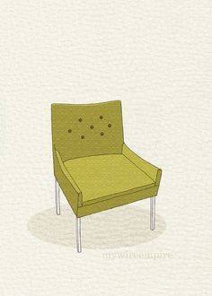 modern chair 4 yellow green dot 5x7 print by mywireempire on Etsy, $10.00