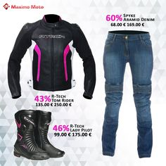 ¿Dónde están las chicas #moto #racer?👸👸 🤔🤔 Maximo Moto trae un combo de moda para niñas. 🤩🤩 Compra carreras de motos y ropa de moda con los mayores descuentos.👩🎤 Visítanos ahora aquí:👉👉 https://www.maximo-moto.com/99-euro #rtech #spyke #Mujer #Chaquetas #Pantalones #Botas