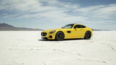 Mercedes-AMG GT Coupé 2015, Static Side 3/4 Shot in Bonneville Salt Flats, USA. More Images On The Following Link: https://www.carspecwall.com/mercedes-benz/amg/amg-gt/coupe/amg-gt-coupe-2015/
